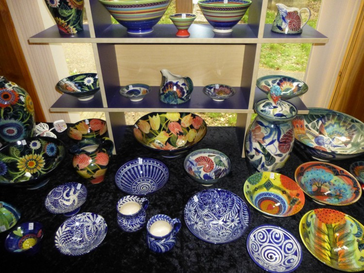Some of Pru Green's ceramics on display at the 2014 Lexden Arts Festival