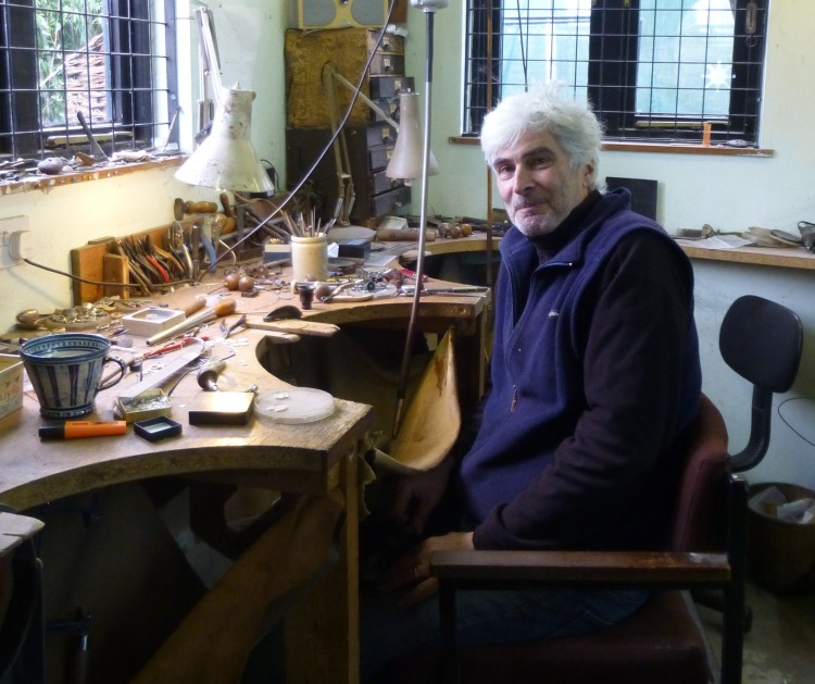 Jeweller Mike Carpenter in his studio at the Spiral Gallery, Debenham