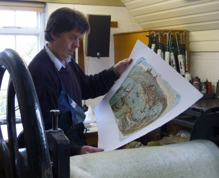 Glynn Thomas in his etching studio