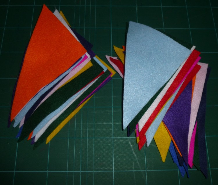 All the felt triangles cut out and ready