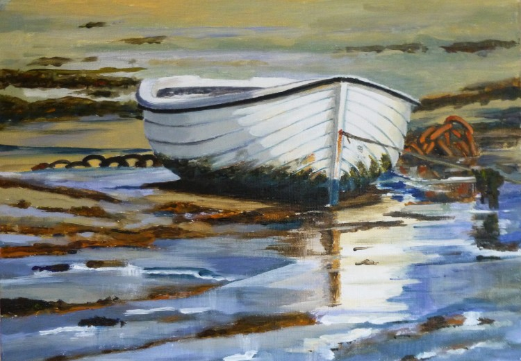 White Dinghy in the Mud