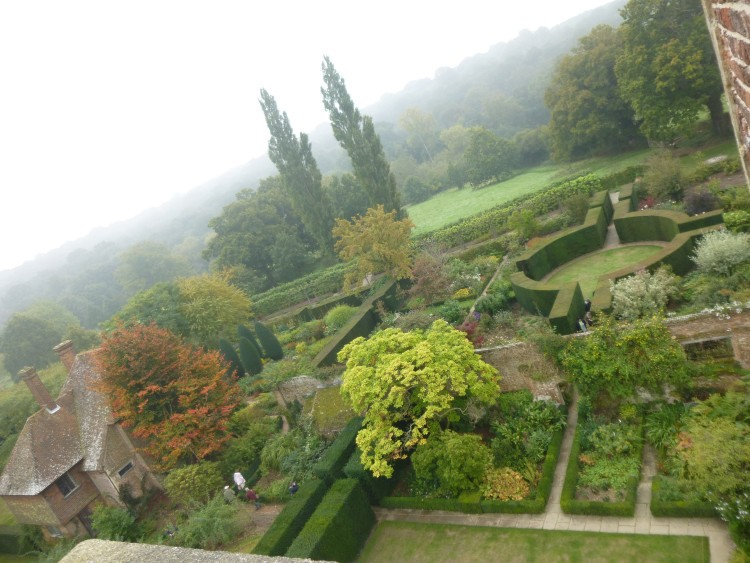 Looking down onto part of the garden from the tower