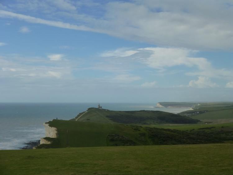 Belle Tout lighthouse on the cliff edge, looking towards Birling Gap