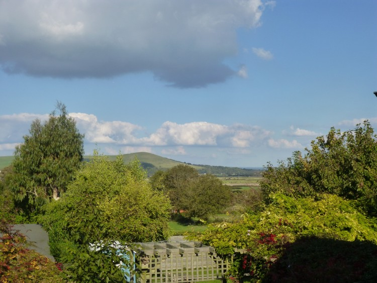 The view from the back of the cottage, with Mount Caburn in the distance, on the other side of the Ouse Valley