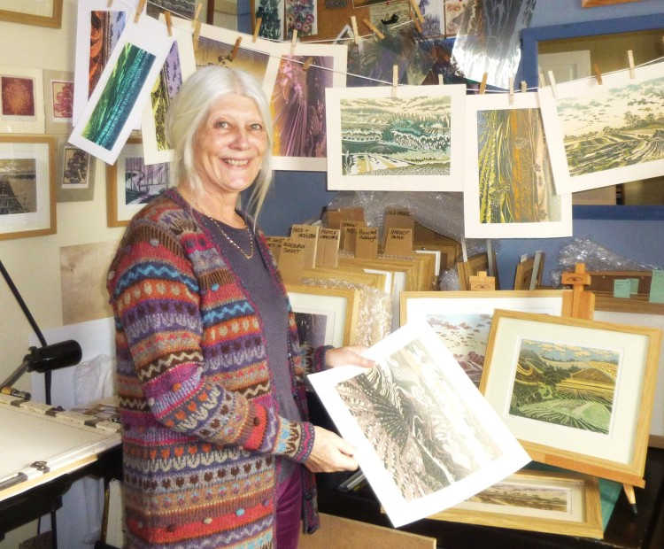 Anne Townshend in her print making studio