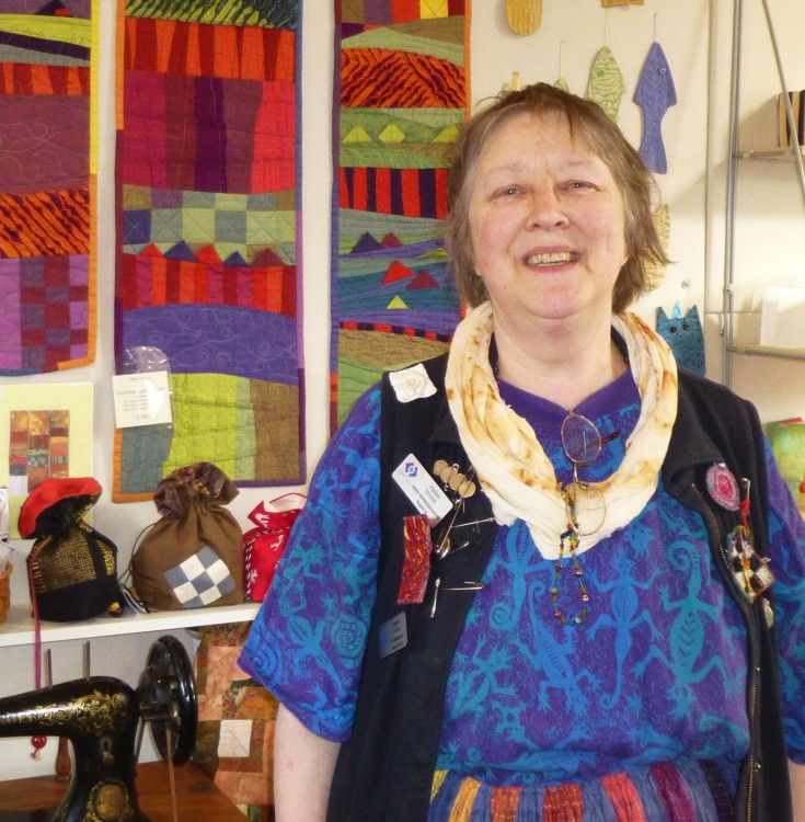 Helen Howes in her textile studio