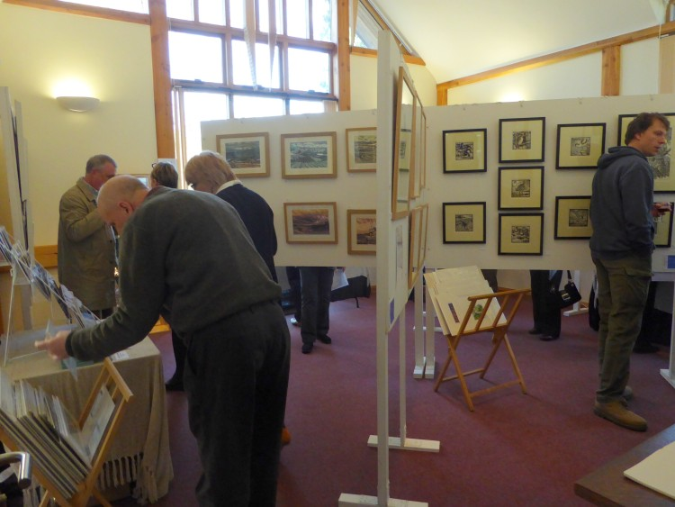 Anne Townshend's lino prints can be seen on the left, with Richard Allen's lino prints on the right