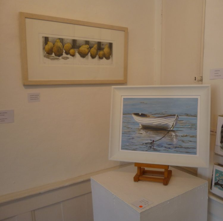 Liz Morris' 'Quinces and Butterfly on the left, with Waiting for the Tide III which had just sold.