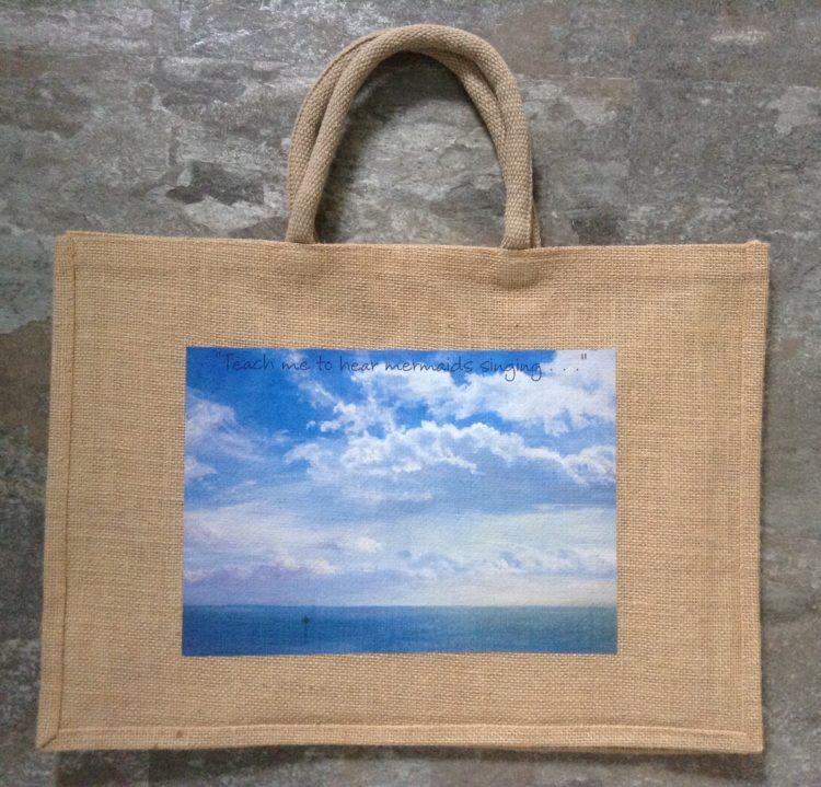 Large Seaside Jute Bag – West Mersea/ Teach me to hear Mermaids singing