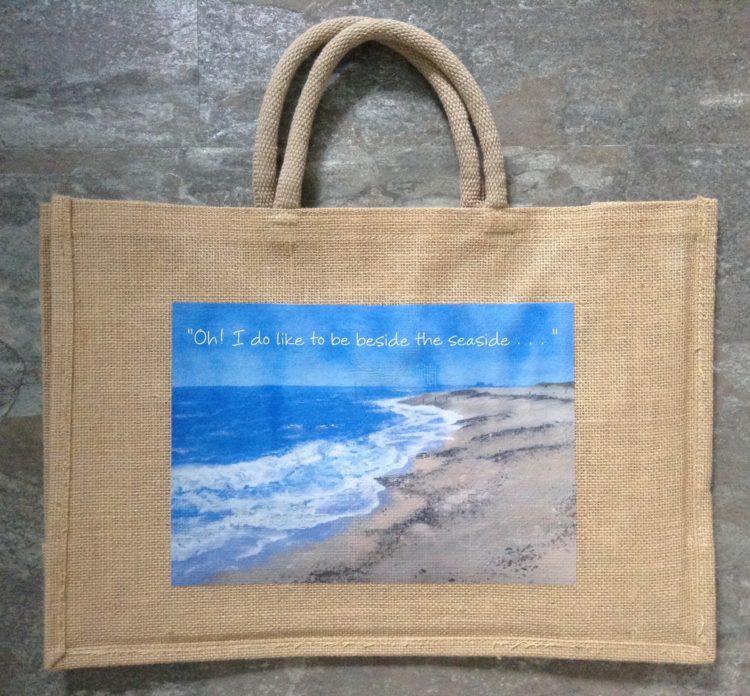 """Large Seaside Jute Bag – Southwold/ """"Oh! I do like . . ."""""""